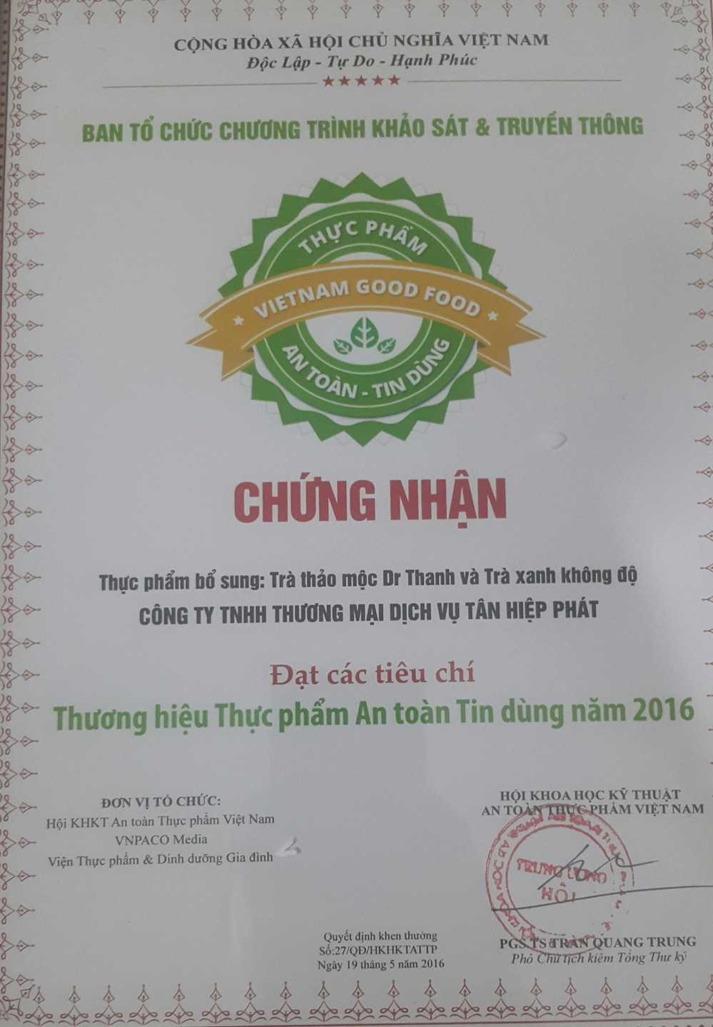 Don vi nao to chuc trao giai thuong 'Thuc pham an toan tin dung 2016'? hinh anh 1