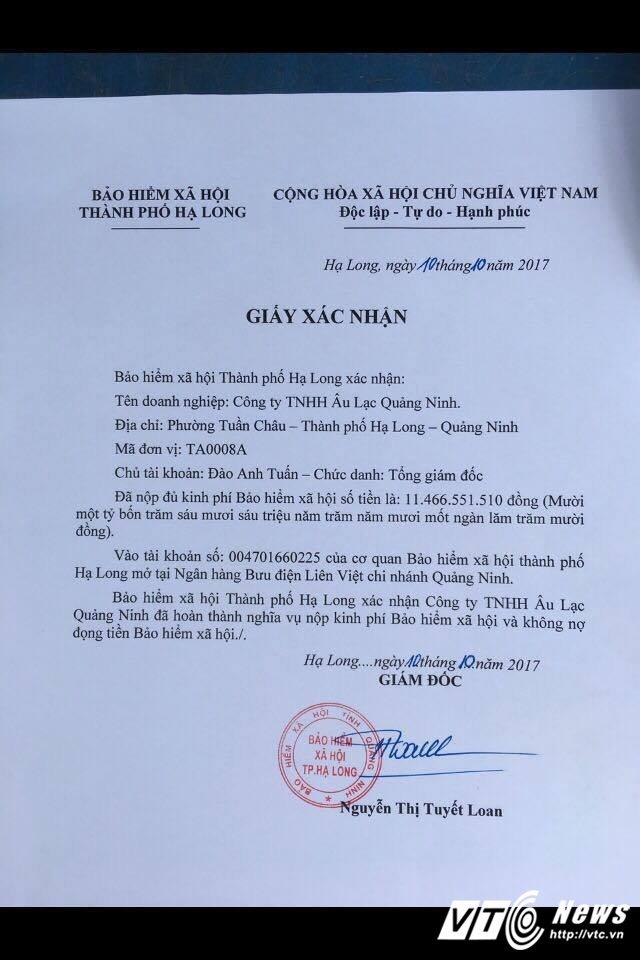 Cong ty TNHH Au Lac - Tap doan Tuan Chau nop du 11,4 ty dong no bao hiem xa hoi hinh anh 1