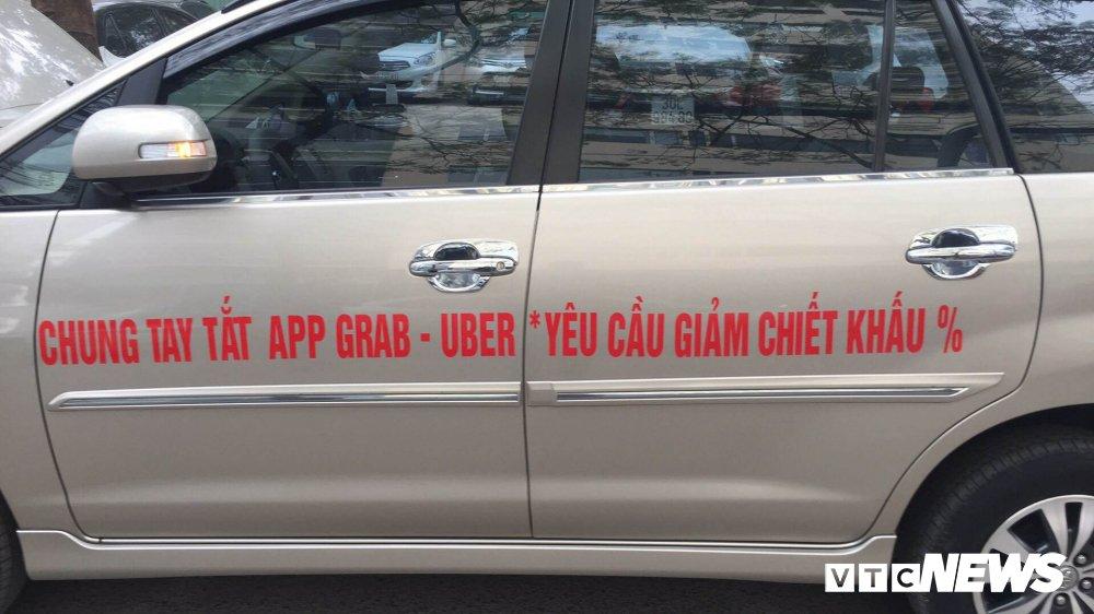 Hang tram tai xe Uber, Grab dong loat bieu tinh doi hang giam chiet khau hinh anh 1