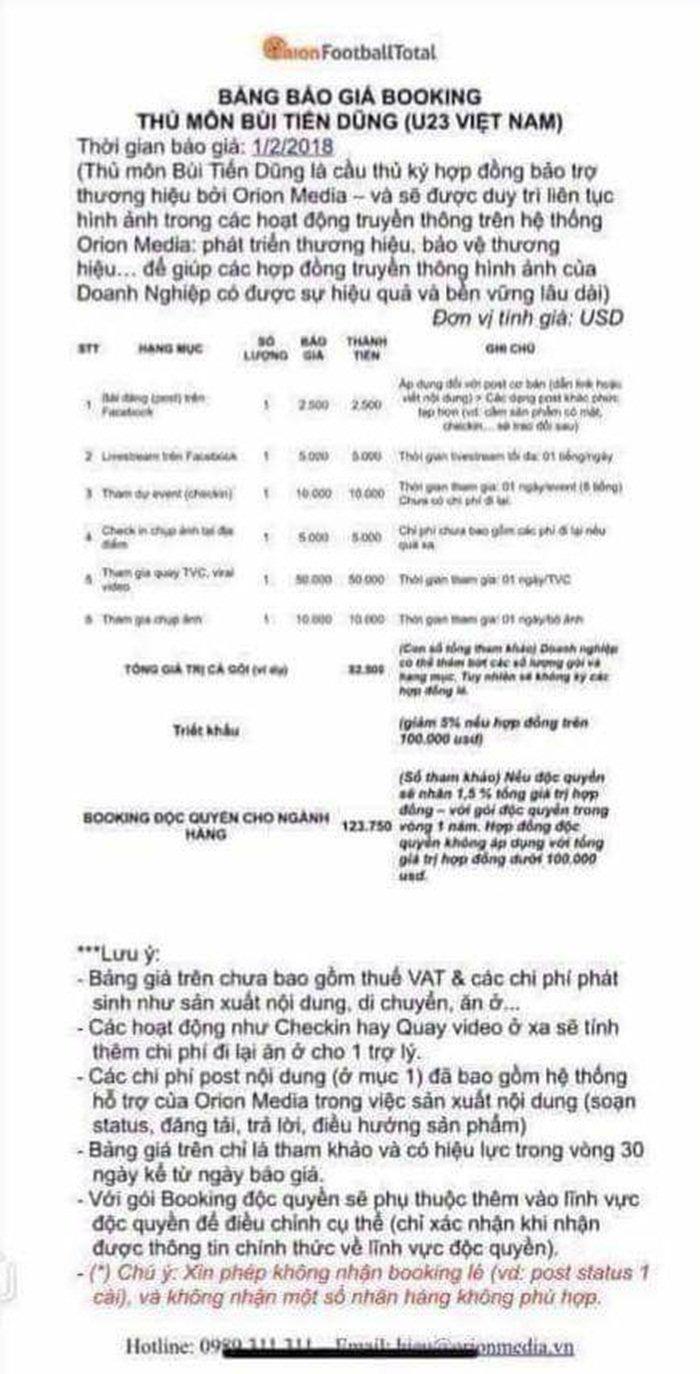 Status quang cao cua thu mon Tien Dung gia 2.500 USD, quay TVC 50.000 USD? hinh anh 2