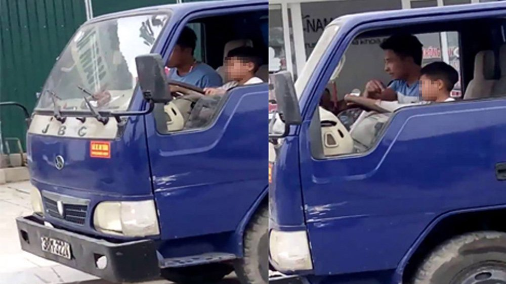 Be trai 10 tuoi lai xe tai bang bang: Ong chu giao tay lai cho chau noi gi? hinh anh 1