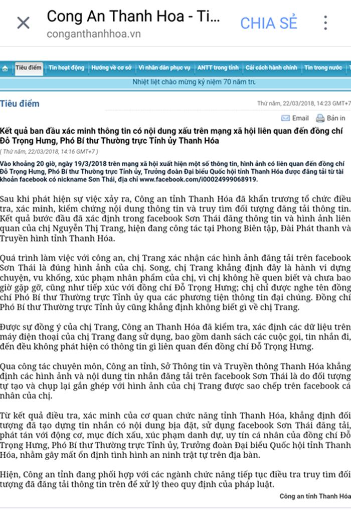 Pho Bi thu Do Trong Hung bi tung tin co 'bo nhi': CA Thanh Hoa kiem tra dien thoai 'hotgirl' trong tin don hinh anh 1