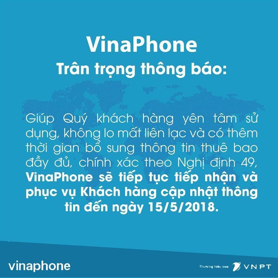VinaPhone, MobiFone thông báo lùi thời hạn cập nhật thông tin thuê bao