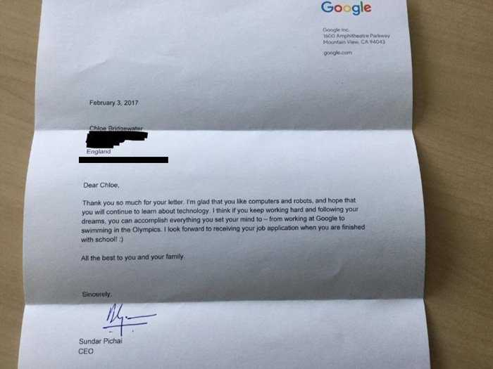 Be gai 7 tuoi ung tuyen Google bat ngo nhan duoc thu cua CEO hinh anh 2