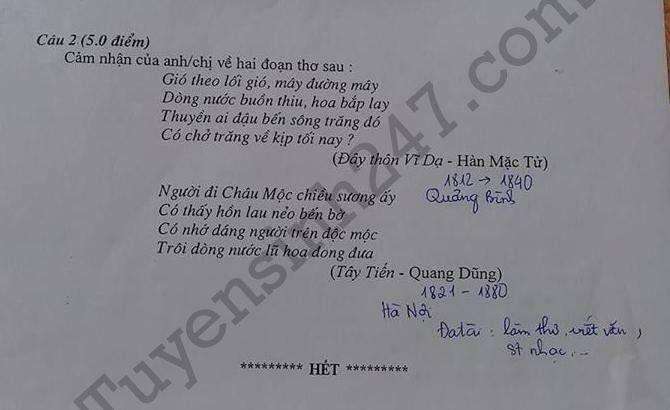 De thi thu mon Van ky thi THPT Quoc gia 2018 tai THPT Quang Xuong 1 hinh anh 2