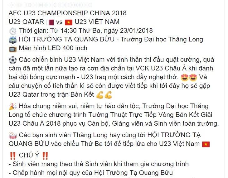 Sinh vien Ha Thanh duoc nghi hoc xem U23 Viet Nam - U23 Qatar hinh anh 1