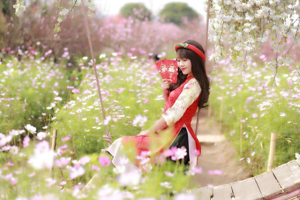 Hot girl Tuyen Quang khoe sac  ben dao Xuan hinh anh 11