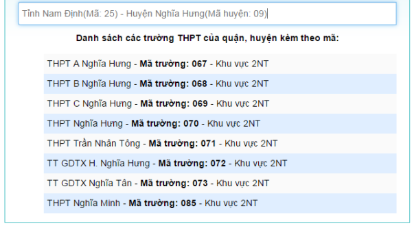 Danh sach ma truong THPT nam 2018 hinh anh 2