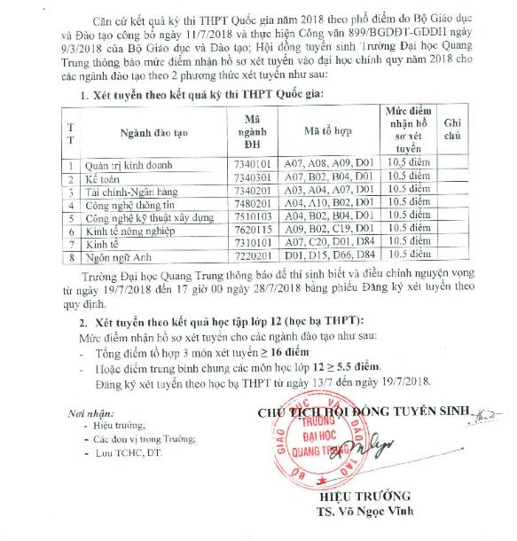Truòng Dai hoc Quang Trung nhạn hò so tù 10,5 diem cho 3 mon hinh anh 1