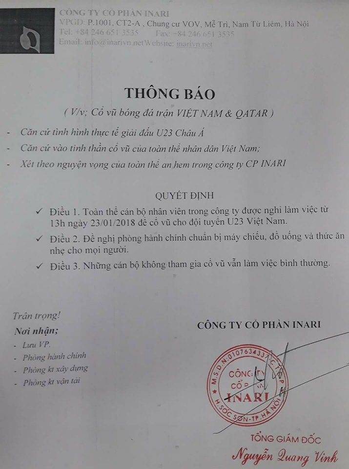 BHD mo rap xem truc tiep mien phi, hang loat doanh nghiep cho nhan vien nghi lam 'quay' cung U23 Viet Nam hinh anh 3