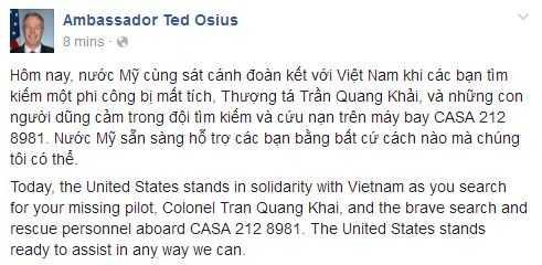 Dai su My Ted Osius chia se mat mat voi Viet Nam sau 2 su co may bay lien tiep hinh anh 1