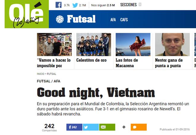 Bao the thao hang dau Argentina ca ngoi DT futsal Viet Nam hinh anh 1