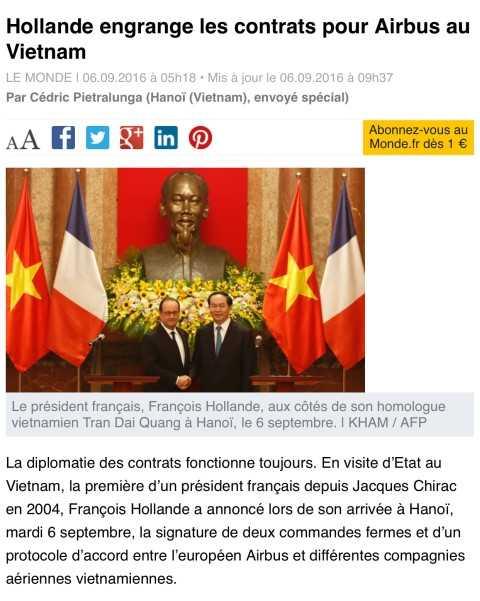 Bao chi Phap ca ngoi chuyen tham Viet Nam cua Tong thong Hollande hinh anh 1