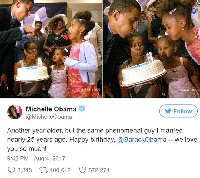 Ong Obama nhan loi chuc 'co canh' tu vo trong ngay sinh nhat hinh anh 1