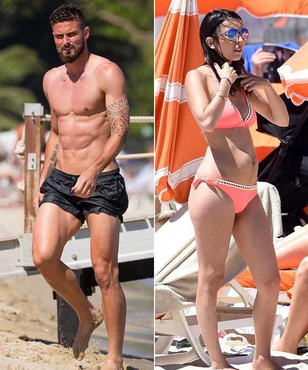 Giroud khoe co báp, bạn gái xinh dep mac bikini lọ bụng to hinh anh 1