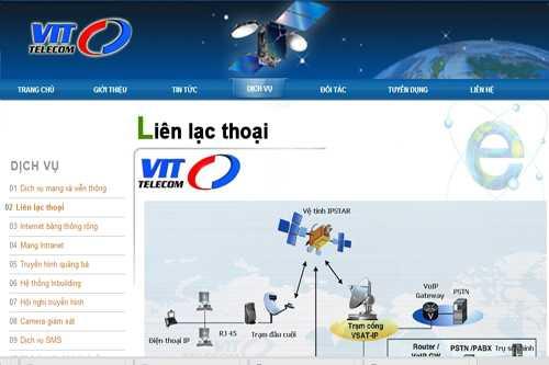 Website của Công ty CP viễn thông VIT Việt Nam - VIT Telecom, một trong 4 doanh nghiệp bị thu hồi giấy phép cung cấp dịch vụ viễn thông từ ngày 29/11/2013.