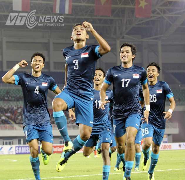 Niềm vui của Sahil Suhaimi (số 3) và đồng đội khi ghi bàn vào lưới U23 Việt Nam
