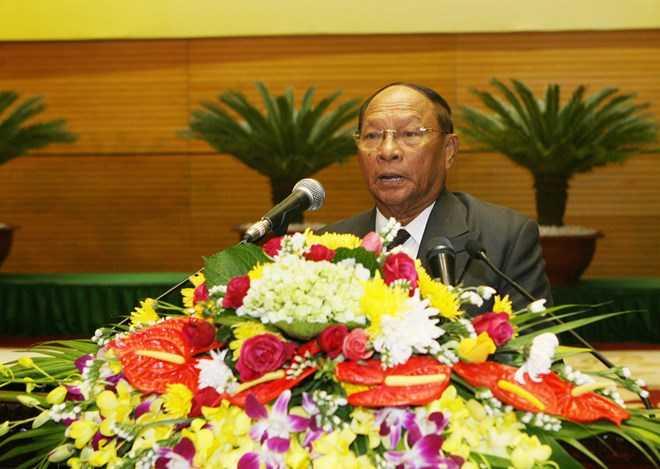 Ông Samdech Heng Samrin, Chủ tịch Quốc hội, Chủ tịch Mặt trận Đoàn kết Phát triển Tổ quốc Campuchia. (Ảnh: Trọng Đức/TTXVN)