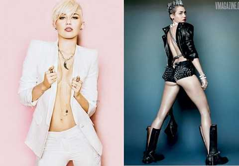 Hình ảnh mát mẻ của Miley trên tạp chí.