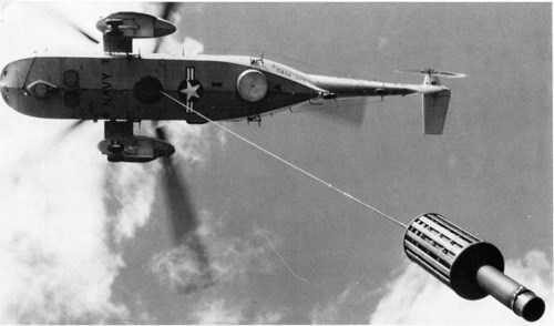 Một thiết bị thủy âm phát hiện tàu ngầm gắn trên trực thăng săn ngầm của Mỹ
