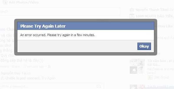 Thông báo lỗi của Facebook khi người dùng đăng tải bình luận.