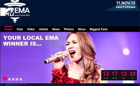 Mỹ Tâm đã chiến thắng vòng khu vực Đông Nam Á tại giải MTV Châu Âu (MTV EMA) nhờ số lượng bầu chọn đông đảo của fan - ảnh chụp màn hình.