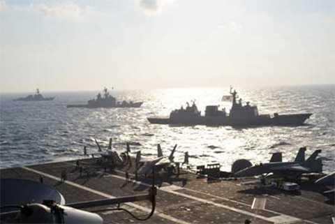 Cuộc diễn tập hải quân chung Mỹ, Nhật, Hàn bắt đầu