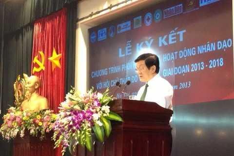 Chủ tịch nước Trương Tấn Sang phát biểu chỉ đạo tại lễ ký kết (Ảnh: Hà Thanh)