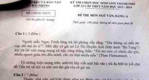 Đề văn thi học sinh giỏi TP Hải Phòng gây tranh cãi