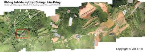 Toàn cảnh khu vực Lạc Dương, Lâm Đồng. Ảnh được ghép từ hàng trăm tấm ảnh nhỏ do máy ảnh chuyên dụng gắn trên máy bay không người lái chụp (Chụp lại từ màn hình. Ảnh: Chinhphu.vn