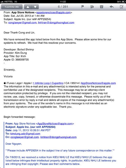 Email của Apple phản hồi Lê Kiều Như hứa sẽ gỡ bỏ Sợi xích