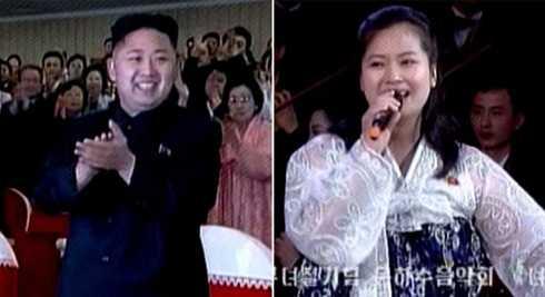 Nhà lãnh đạo Triều Tiên Kim Jong-Un và Hyon Song-wol trong buổi hòa nhạc hôm 8/8 tại Bình Nhưỡng