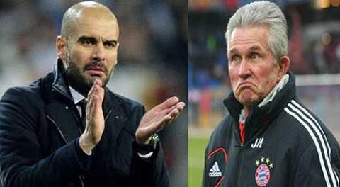 Pep (trái) sẽ thay Heynckes chèo lái Bayern từ mùa tới