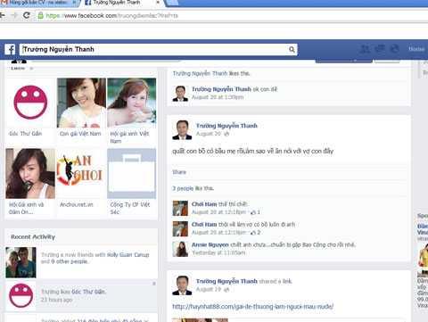 Facebook mạo danh Tổng giám đốc Công ty Cổ phần Việt-Séc do Trương Thành N. lập để
