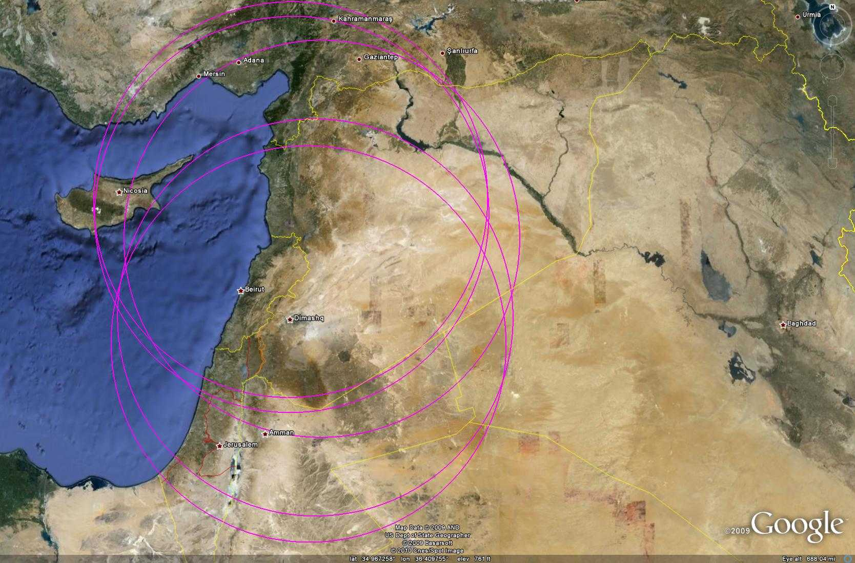 Sơ đồ thể hiện tầm kiểm soát của các trận địa S-200 đang hoạt động của Syria