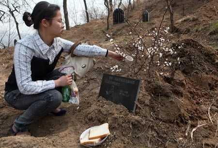 Một cô gái ngồi trước mộ thú cưng của mình (Ảnh minh họa)