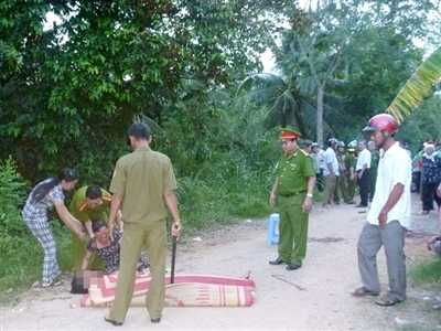 Hiện trường vụ án mạng thương tâm làm anh Võ Thanh Trong tử vong tại chỗ.