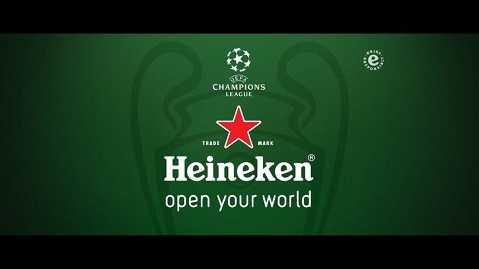 Trái với Carlsberg, Heineken lại chọn cách gắn tên mình với UEFA Champions League.
