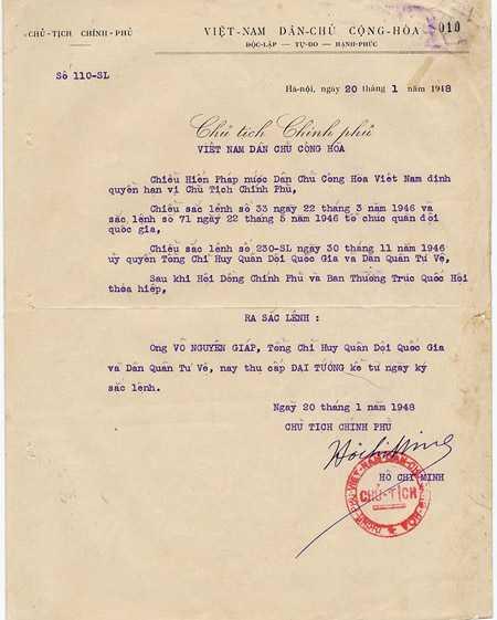 Sắc phong Đại tướng do Chủ tịch Hồ Chí Minh ký ngày 20/1/1948