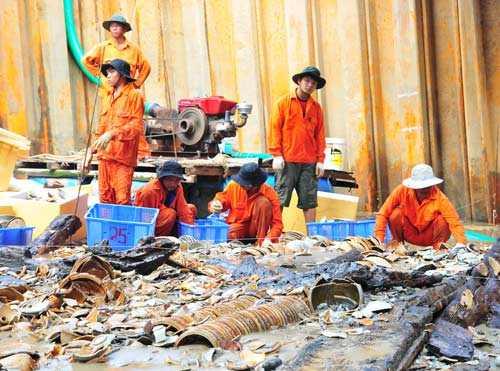Xác tàu cổ được khai quật