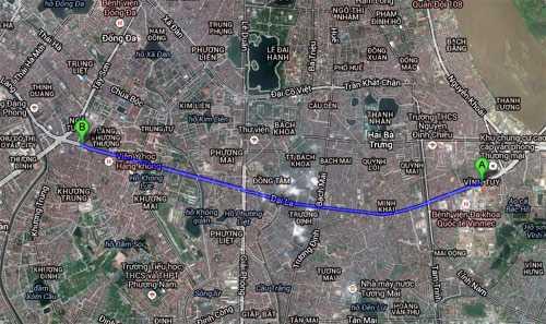 Đường vành đai 2 trên cao đoạn từ cầu Vĩnh Tuy (A) tới Ngã Tư Sở (B). Ảnh: Google maps.
