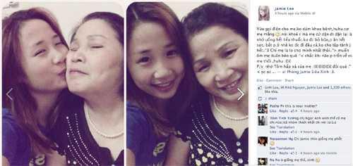 Jamie (St.319) - Lê Thị Ngọc Anh tươi tắn   bên mẹ. Cô gái xì tin viết rất tình cảm: