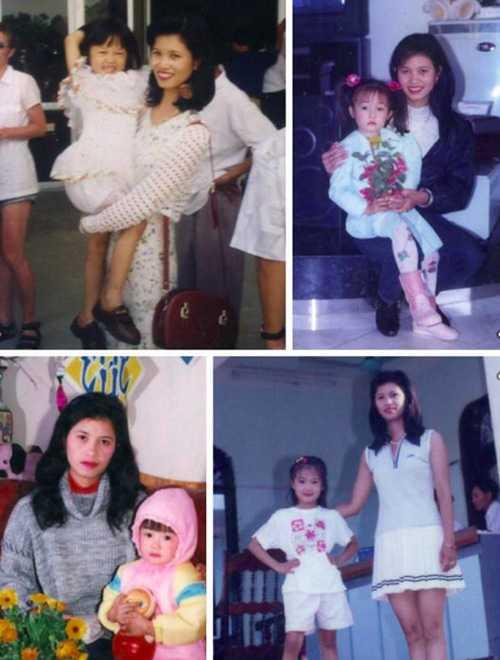 Trong không khí Ngày của mẹ, cô gái của những clip Valentine, hát cùng những chiếc cốc Sa Lim cũng tung ảnh thuở bé thơ bên mẹ.