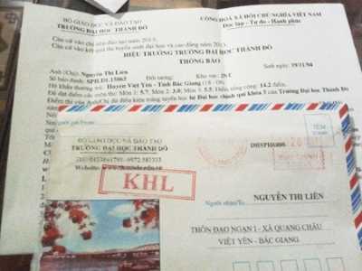Giấy thông báo của ĐH Thành Đô gửi chị Nguyễn Thị Liên (36 tuổi, Việt Yên, Bắc Giang) dù người phụ nữ này không dự thi đại học năm 2013. Sự việc được xác minh do nhân viên đưa thư tại xã đã gửi nhầm địa chỉ