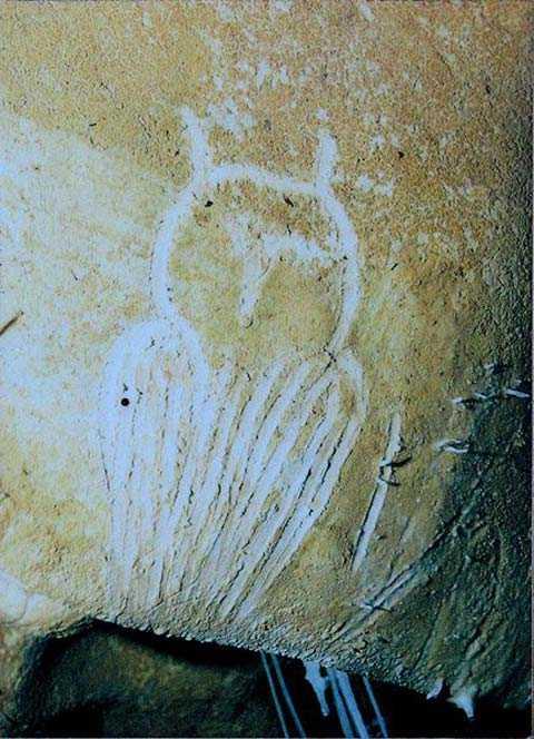 Còn đây là bức tranh miêu tả con cú đang quay đầu hẳn ra sau. Ý nghĩa của nó dường như đề cập đến những sức mạnh siêu nhiên.