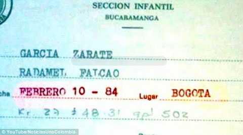Những giấy tờ này đều ghi Falcao sinh năm 1984