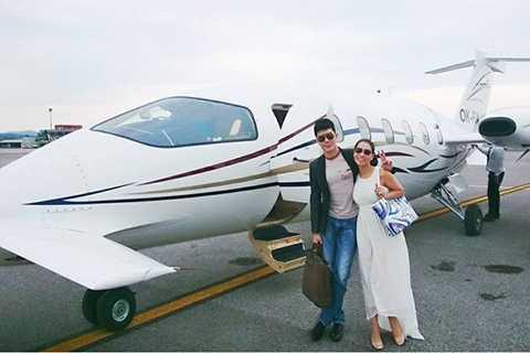 Thu Minh cùng chồng đi nghỉ mát và chuyên cơ riêng gây sốt.