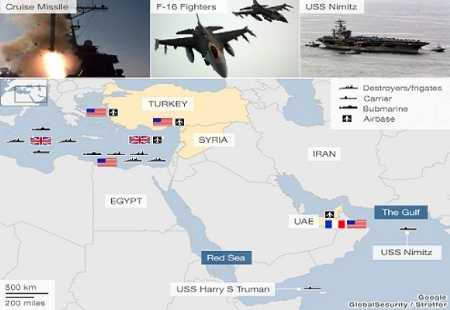 Lực lượng liên quân Mỹ-Anh-Pháp đã áp sát Syria, sẵn sàng cho việc can thiệp quân sự