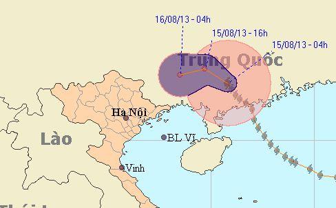 Siêu bão Utor đi vào đất liền Trung Quốc, gây mưa lớn cho các tỉnh Đông Bắc Việt Nam. Ảnh: Nchmf