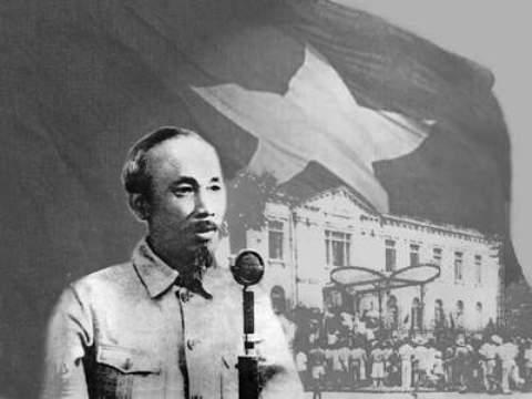 Chủ tịch Hồ Chí Minh đọc bản Tuyên ngôn độc lập, khai sinh ra nước Việt Nam dân chủ cộng hòa tại quảng trường Ba Đình ngày 2/9/1945.